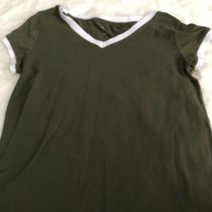 Olive green with white trim tee shirt